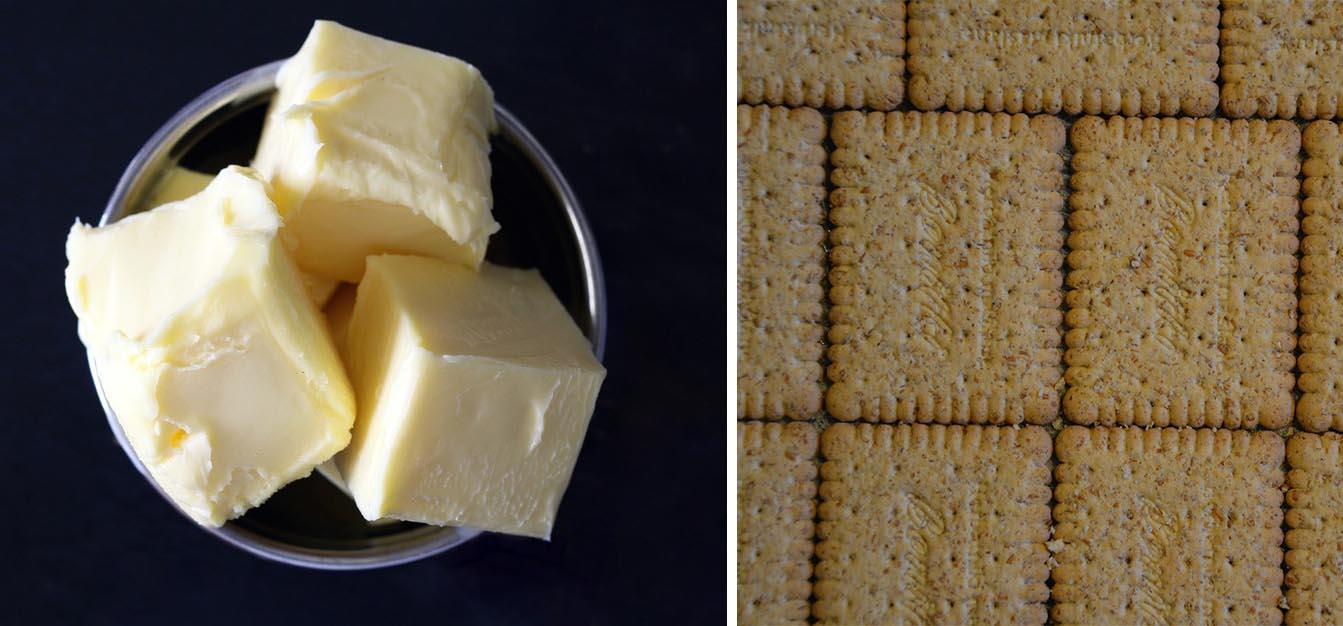 Ciastka pokruszcie i wymieszajcie z roztopionym masłem. Powstałą masę ułóżcie...